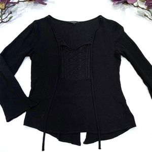 Ambiance Blouse Lace Sheer Neckline Black Small